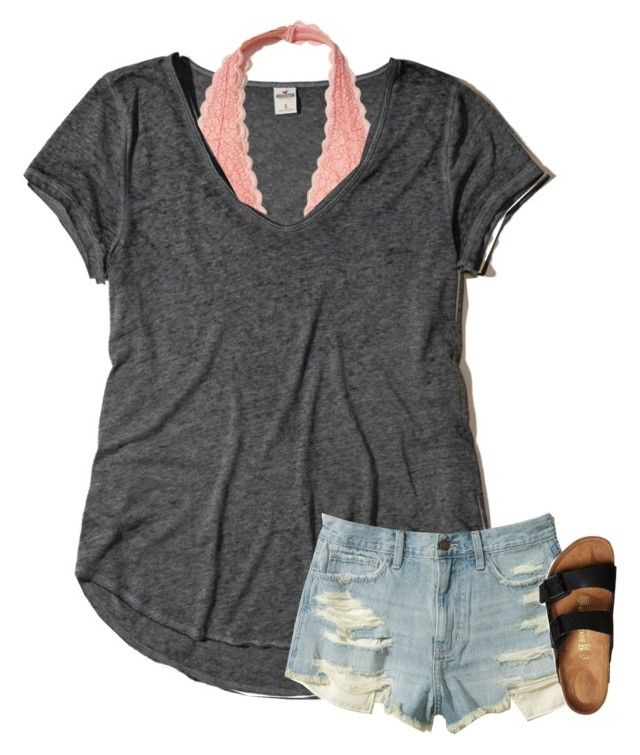 """""""hey hey"""" by texasgirlfashion ❤ liked on Polyvore featuring Hollister Co. and Birkenstock"""