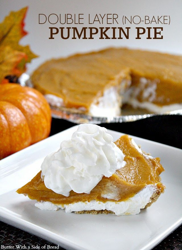No-Bake Double Layer Pumpkin Pie ~ a delicious twist on a classic! #recipe #pumpkin #thanksgiving   {Butter With A Side of Bread}