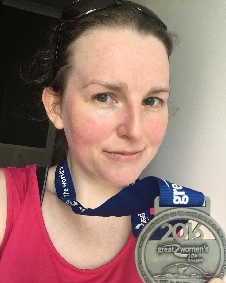 """I waited until my beetroot colouring calmed down a bit to take the obligatory post-race selfie. What a race. So very very hot and sunny... when you sign up for a Scottish race you don't expect this weather! I often felt sick and wanted to stop but I somehow kept going and did it in 58'31"""". Slowest of the four 10k races I've done but I really don't care. I'm just delighted I finished and survived.  #greatwomens10k #running #race #thisgirlcan #glasgow #heatwave #selfie #smallbeetrootwoman"""