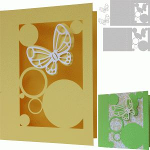 Silhouette Online Store: abstract card with butterfly