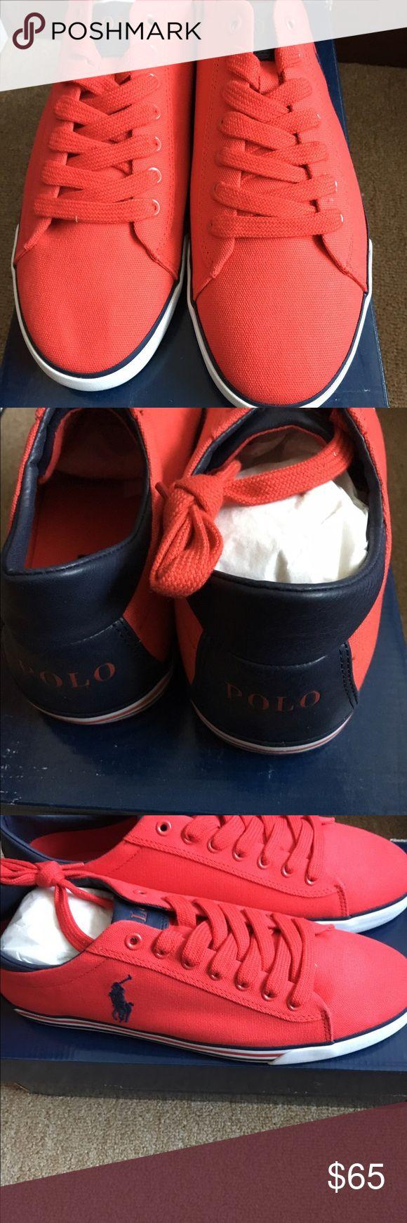 Men's Ralph Lauren Polo Sneakers Brand New Men's Red Polo Ralph Lauren Harvey Canvas Sneakers Polo by Ralph Lauren Shoes Sneakers