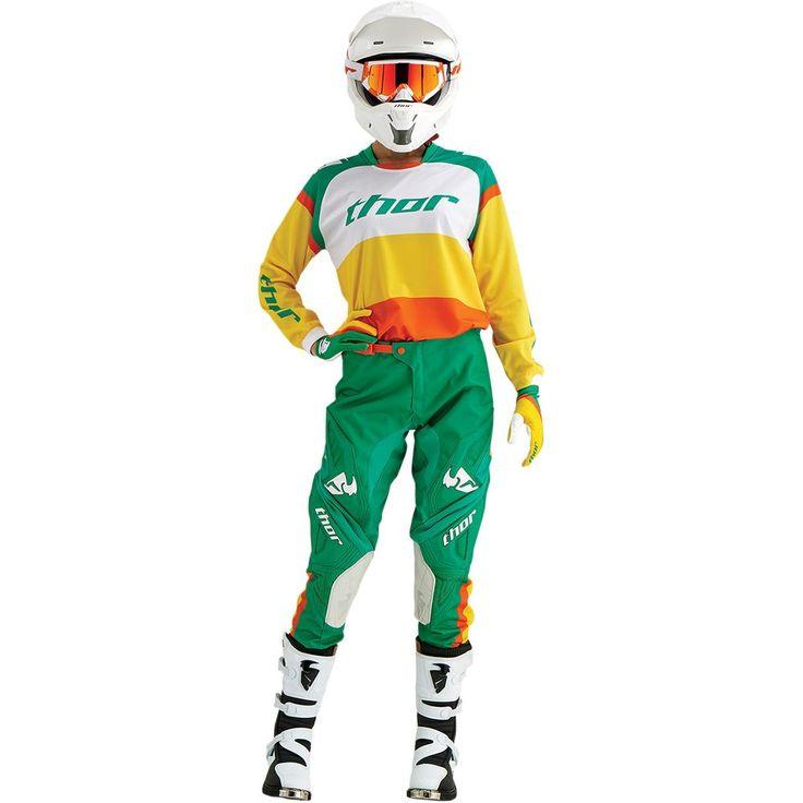 Tenue mx Thor Phase Bonnie vert jaune 2016 - Equipement moto cross femme