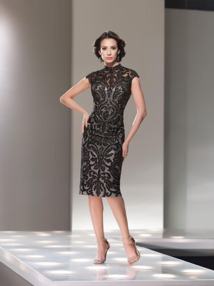Black lace dress below the knee