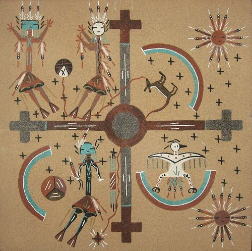 The Four directions of the Winds Navajo Sand painting..old school/traditional method