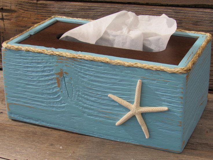17 best ideas about rustic tissue box holders on pinterest sea theme bathroom beach - Beach themed tissue box cover ...