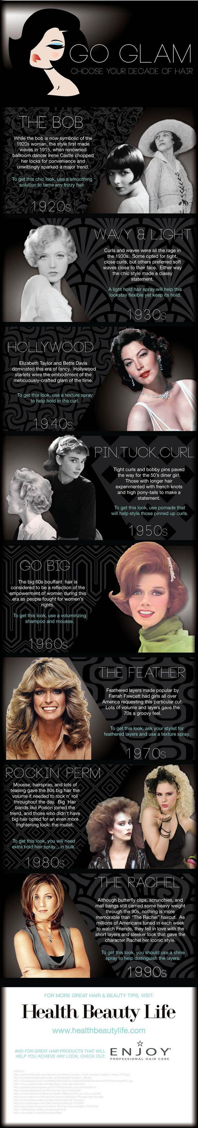 Go Glam by Choosing Your Decade of Hair! The 90's 50's and 30's ones are my favorites, but these are great for ideas!