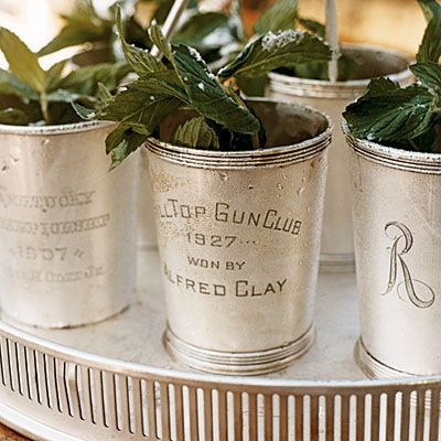 a decadent mint julep... icy cold, old silver cups, plenty of mint and a gallery edged tray!