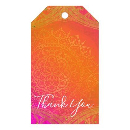 Fuchsia Pink Orange & Gold Indian Mandala Party Gift Tags - birthday diy gift present custom ideas