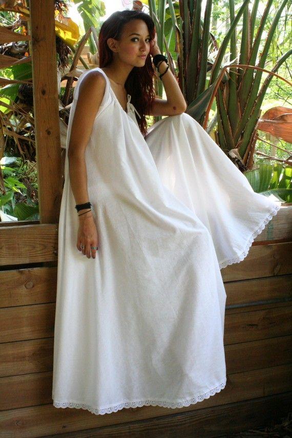 White Cotton Full Swing Nightgown Summer Romance Bridal