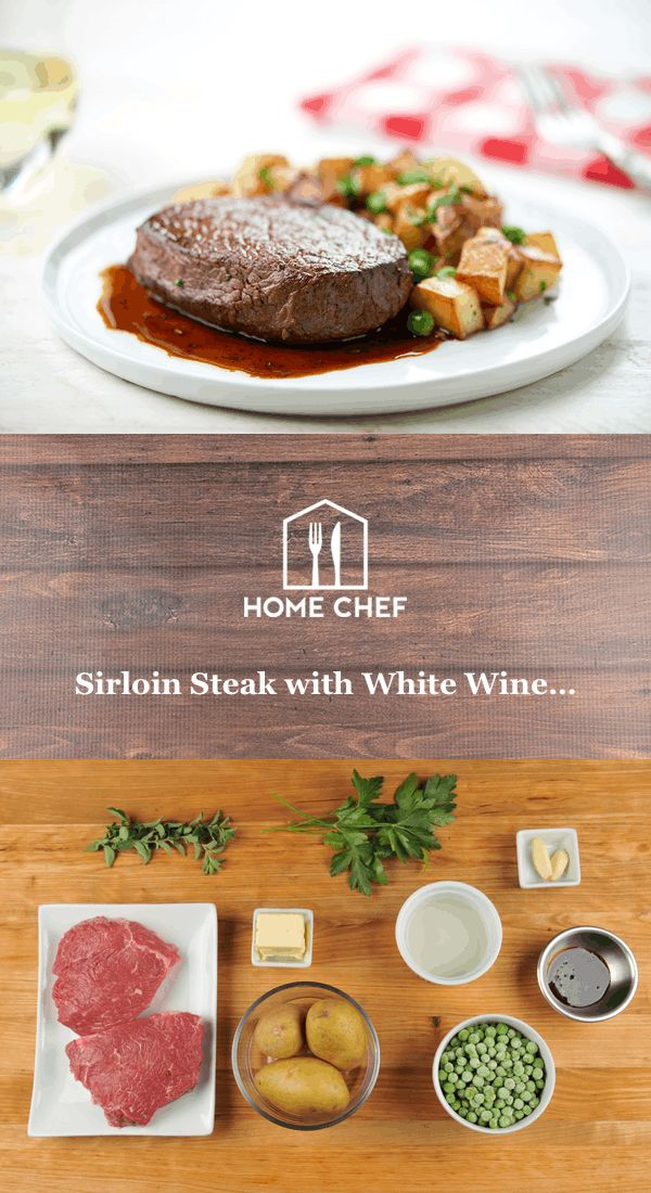 Want to class up the joint? Bring a higher class of heckler to your dinner table? You'll be beating the paupers off with a stick when you have this steak and white wine demi-glace on the menu. (Even the words sound like you're a fancy pants.) Potatoes are roasted in butter and tossed with garlic, peas, and herbs. Those same herbs are added to the delectable sauce, a rich troika of white wine, demi-glace, and butter. We'd say you'll be licking your fingers after, but you're way too poshfor…