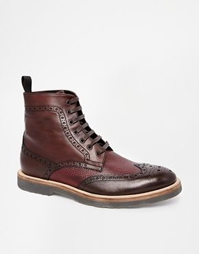 $360, Brown Leather Brogue Boots: Rolando Sturlini Brogue Boots Brown. Sold by Asos. Click for more info: https://lookastic.com/men/shop_items/85861/redirect