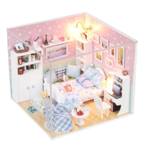 Mini-Doll-House-Kit-Kitchen-Dinning-Room-Furnitures-DIY-Wooden-Dollhouse-New