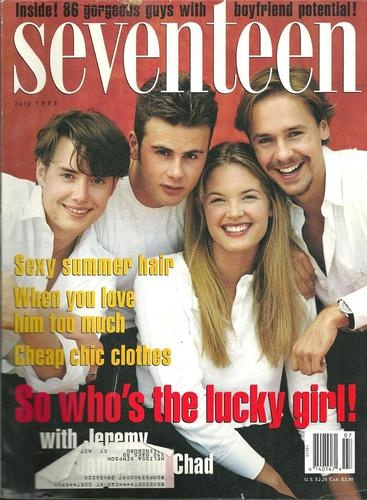 July 1993 cover with Jeremy London, Jamie Walters, and Chad Lowe with nineteen-year-old Bridgette Wilson