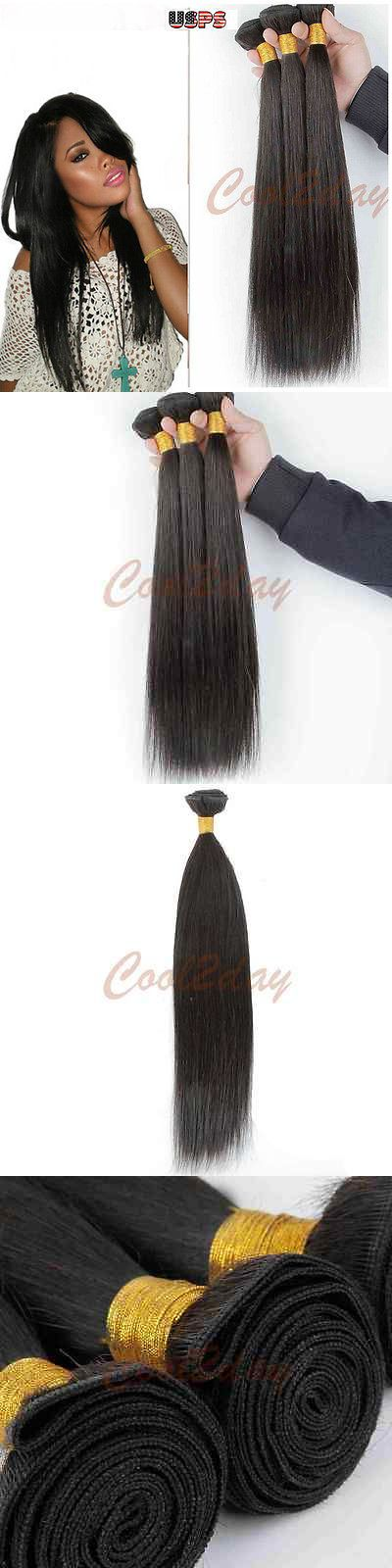 Hair Extensions: 100% Unprocessed Virgin Remy Hair Human Hair Weave Extensions Brazilian Straight BUY IT NOW ONLY: $38.99