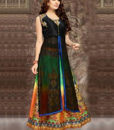 Buy multicolor embroidered silk lehenga with choli ghagra-choli online