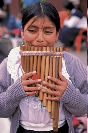 Hand-made instruments and street musicians are very popular in Ecuador.