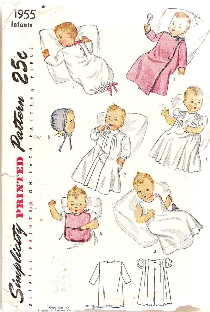 1940s Vintage Baby Layette Pattern Infant Set Simplicity 1955 Dress Slip Nightgown Wrapper Gown Bonnet Bib. $10.00, via Etsy.