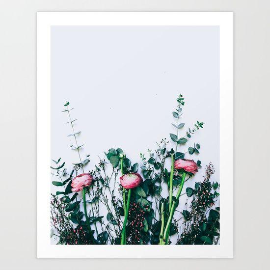 Ranunculus and Eucalyptus Art Print by Herself Designs