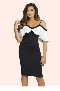Jessica Wright Mazie Monochrome Cold Shoulder Bodycon Dress  £65.00 Look fabulous in this Jessica Wright black and white bodycon dress. This dress features a cold shoulder style and a super slim fit to give you a sultry look.   Colour: Black