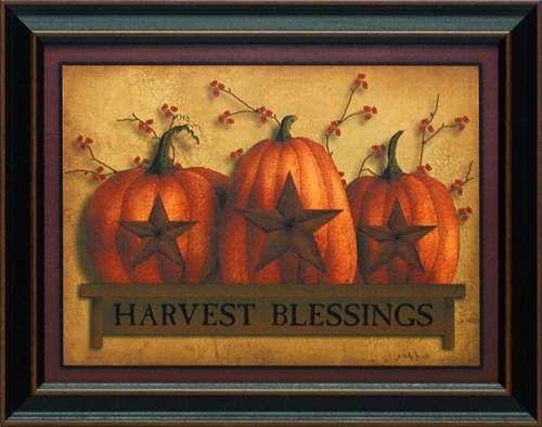 Harvest Blessings By Billy Jacobs 15x19 Framed Pumpkin Art
