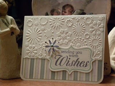 handmade card from Paper Wishes: With all my heart ... winter theme ... snowflake embossing folder texture ... winter white and cool neutrals ... bottom corners rounded .. beautiful!