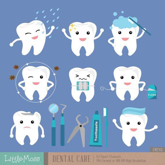 Dental Care Digital Clipart by LittleMoss on Etsy