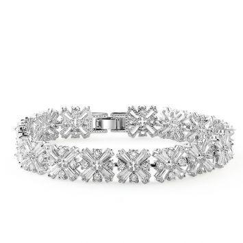 Браслет - Хрустальные цветы Серебряный с белым камнем