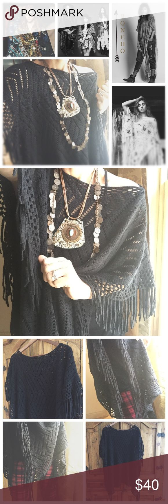 "Black Fringe Poncho What wardrobe doesn't need a black fringy Poncho!! Perfect for any season . Could also be worn as a big chunk scarf. Would look great over a Silky spaghetti strap dress for an evening wedding . Add some knee high boots and you will stand out in the crowd!! My motto is ""Dare to be different"" I'm wearing with my  John Varvatos converse slip ons. Tags have been removed, so sold as is and price reflects this. NWOT boutique Sweaters"