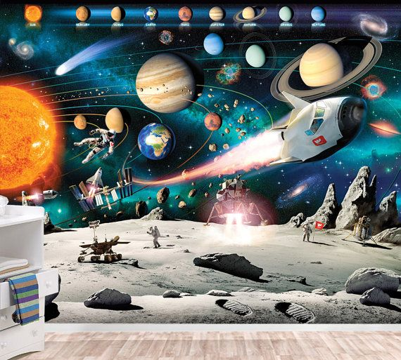 Solar System Mural Space Wallpaper Wall décor Nursery and