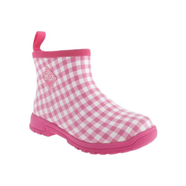 Women's Muck Boots Breezy Ankle Boot - Pink Gingham Casual (145 CAD) ❤ liked on Polyvore featuring shoes, boots, ankle booties, casual, casual shoes, pink, short boots, pink boots, pink ankle boots and ankle bootie boots