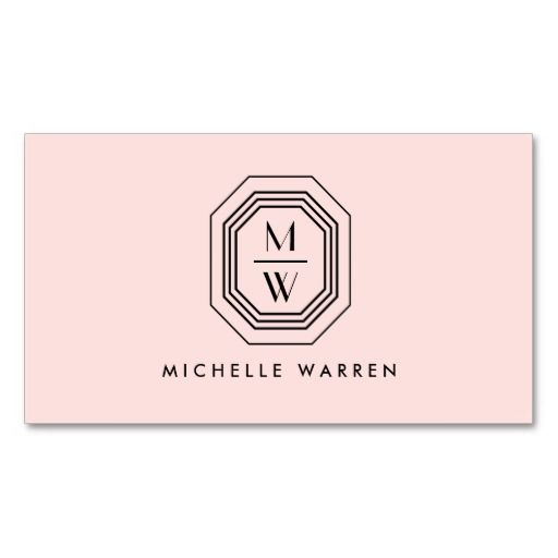 Pink/Black Art Deco Monogram Beauty Business Card Template - personalize the front and back of this card with your own initials and info. A unique design and logo for freelance makeup artists, salons, hair stylists, bloggers, bakeries, french pastry chefs, designers and more!
