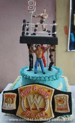 Homemade WWE Birthday Cake: I made this WWE Birthday cake for my nephew's 8th birthday.  He is an avid WWE fan and wished for 3 things on his birthday cake – the championship belt,