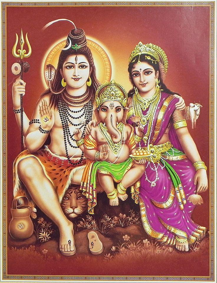 Shiva, Parvati and Ganesha (Reprint on Paper - Unframed)
