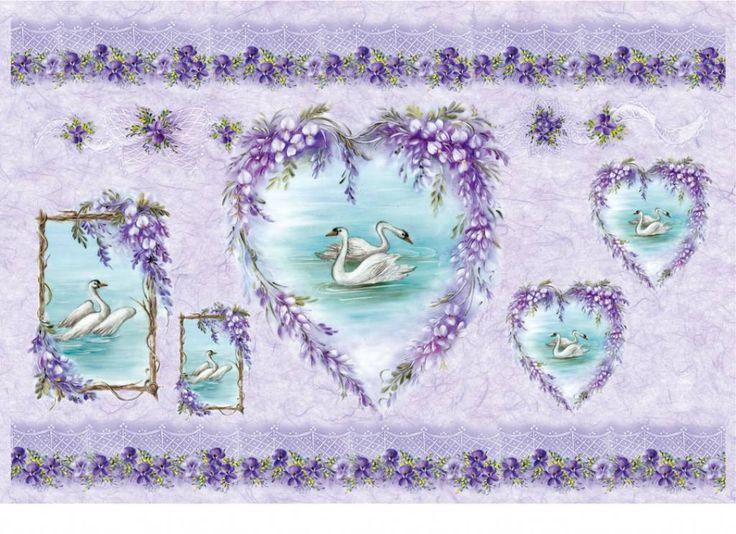 New! Swans and Wisteria Rice Paper beautiful purple shades, #swanswisteriaricepaper, #italianricepaper