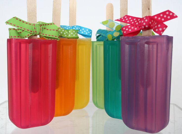 Fruity Rainbow Glycerin Soap Pop for Party Favors, Birthdays or Gifts. $5.95 USD, via Etsy.