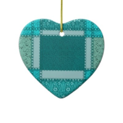 Teal Patchwork Heart Ornament