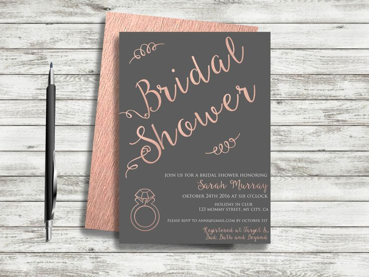 REPIN NOW for later! Rose Gold Bridal Shower Invitation Printable Pink Grey Bridal Shower Invite Typography Bridal Shower Blush Pink Diamond Ring Bridal Shower by DigartDesigns on Etsy