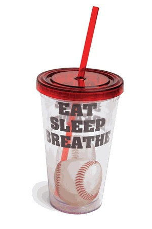 Eat Sleep Breathe Baseball 17oz Insulated Cup w/Straw
