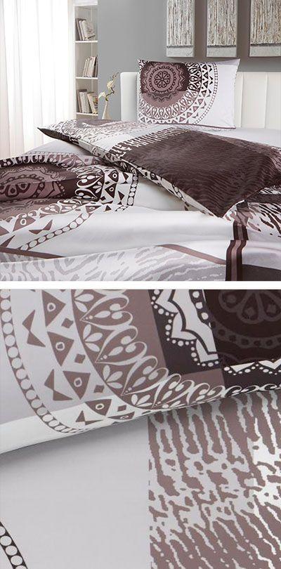 Bettwäsche Graphitfarben Mit Orientalischem Muster In Braun 140x200