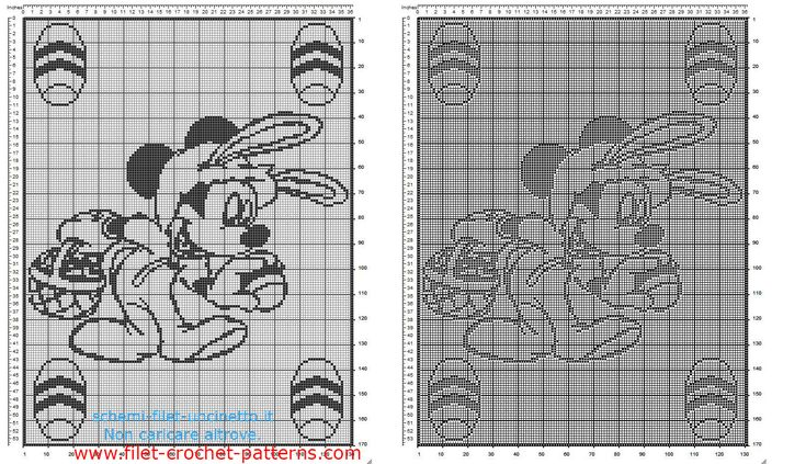 Baby blanket filet crochet pattern with Disney Mickey Mouse and Easter eggs