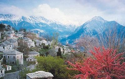 Beautiful Kalarrytes village at mount Pindos (Epirus region)
