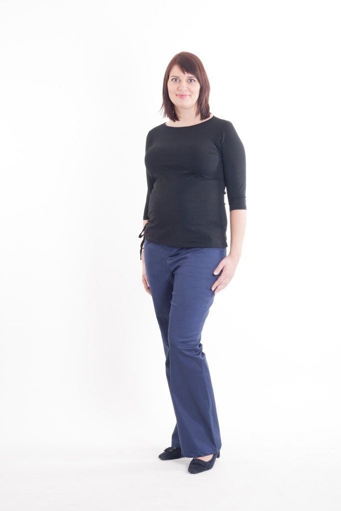Maternity blue boot leg trousers and black t-shirt with 3/4 sleeves