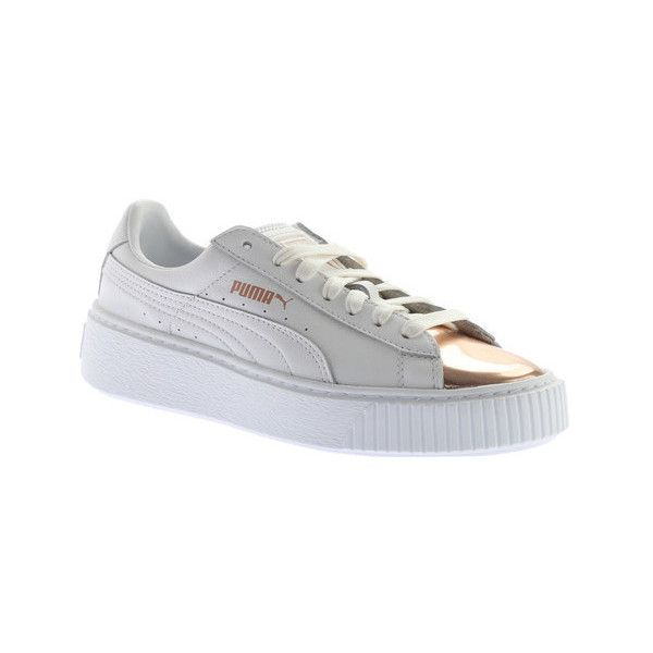 Women's PUMA Basket Platform Metallic Sneaker ($100) ❤ liked on Polyvore featuring shoes, sneakers, casual, platform sneakers, white trainers, white sneakers, platform shoes and creeper sneakers