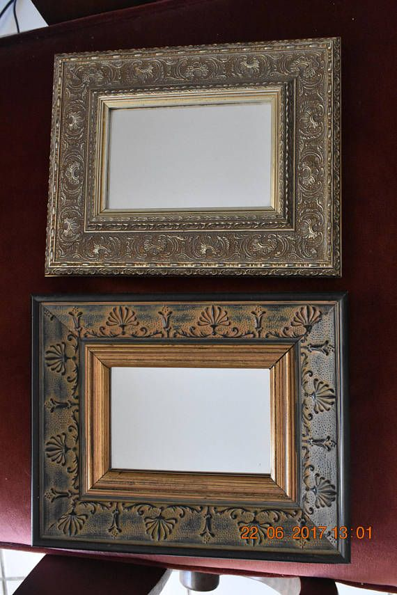 two gilded vintage mirrors 21X26 cm 1990's