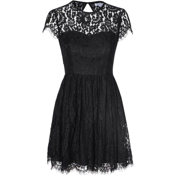 Glamorous Black Open Back Lace Skater Dress ($51) ❤ liked on Polyvore featuring dresses, black, cut out dress, black dress, lace cocktail dress, flared skirt and cocktail dresses