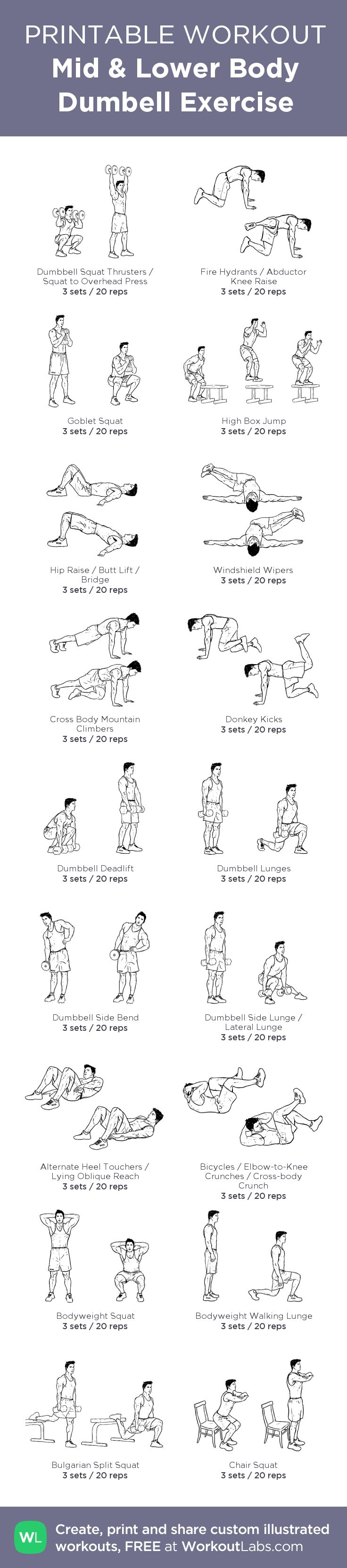 Mid & Lower Body Dumbell Exercise: Created at WorkoutLabs.com • Click through to customize and download as a FREE PDF! #customworkout