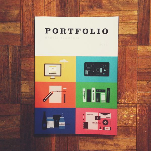 Portfolio cover by Martín Azambuja. I am strongly inspired by vintage looking design. I love how this cover looks like an old schoolbook. It's colourful and fun. I love how taking inspiration from certain decades and older, more vintage looks, instantly tells a story.