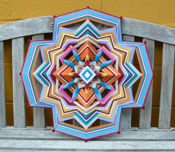 Peace and Love 24 inch Ojo de Dios mandala by JaysMandalas