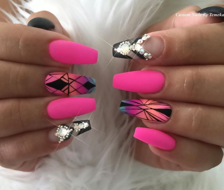 hot pink nails with diamonds - photo #14