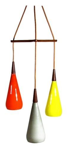 Danish triple teardrop hanging lamp